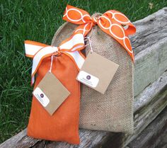 Gift Bag - Natural Jute Drawstring Bags with Bow and Card - DIY at home or assembled and mailed to you or the recipient. $4.50, via Etsy.