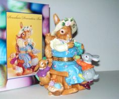 Mother Bunny Hinged Porcelain Trinket Box Rocking Chair Easter NEW COSTCO