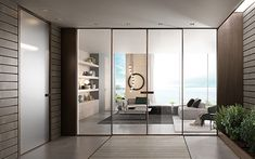 crittall style glass partition with sliding doors and panels Aluminium Sliding Doors, Sliding Door Systems, Glass Hinges, Sliding Glass Door, Glass And Aluminium, Italian Doors, Glass Room Divider, Flush Doors, Fire Doors