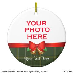 Currie Scottish Tartan Christmas Photo Double-Sided Ceramic Round Christmas Ornament