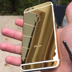 "Doesn't say where to buy, just a cool pic. iPhone 6 gold chrome mirror mirrored shiny ""http://yesbeautyprincess.tumblr.com/ """