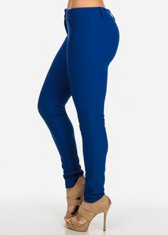 Textured Mid Rise Skinny Pants (Royal Blue)