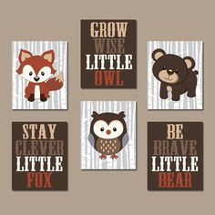 Nursery Wall Art, Woodland Nursery Decor, Forest Animals, Carter Forest Friends, Owl Fox Bear Quotes Canvas or Prints Set of 6 - Baby Bedroom, Baby Boy Rooms, Baby Boy Nurseries, Baby Boy Nursery Themes, Woodland Nursery Decor, Woodland Room, Woodland Animal Nursery, Woodland Forest, Woodland Theme
