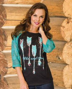 "Southern Grace Women's ""Wild and Free"" Black Burnout & Turquoise Lace Raglan Tee  ""gifts for women"" ""casual clothing"" for ladies cold weather winter layering basics essentials Casual Outfits for women Country Chic #countrygirl #CountryFashion #countryoutfit drysdales.com #Winter2015 ""gifts for cowgirls"" ""country girl"" gift ""gifts for ladies"" top"