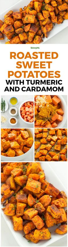 This Roasted Sweet Potatoes with Turmeric and Cardamom Recipe is insanely delicious! #turmeric #side #skinnyms