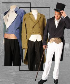 Double Breasted Romantic period style tailcoat. 18th century men's fashion.  For purchase or rental information see www.tuxedowholesaler.com.