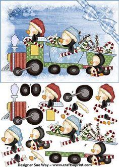 winter ...Dashing Through the Snow Penguin Train Card Front