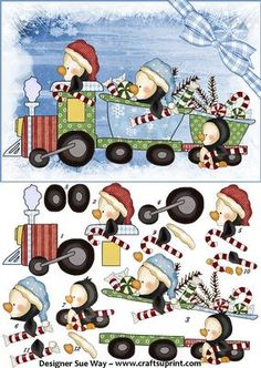 winter ...Dashing Through the Snow Penguin Train Card Front