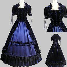 Short Sleeve Floor-length Ink Blue Satin Velvet Aristocrat Lolita Dress – USD $ 84.99