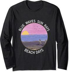Amazon.co.jp: Blue Wave Sun Rays Beach Days Life Is Really Good Summer 長袖Tシャツ Blue Beach, Beach Day, Christmas Store, Christmas Shopping, Sun Rays, Graphic Sweatshirt, T Shirt, Waves, Gift Ideas