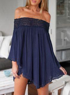 Shop Off The Shoulder Loose Dress online. SheIn offers Off The Shoulder Loose Dress & more to fit your fashionable needs. Vestido Dress, Lace Dress, Dress Up, Summer Outfits, Summer Dresses, Cute Outfits, Blue Dresses, Short Dresses, Boho Fashion