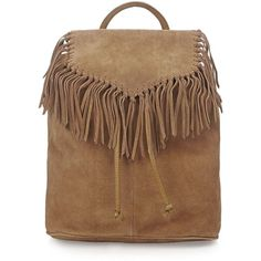 TOPSHOP Suede Fringe Backpack ($125) ❤ liked on Polyvore featuring bags, backpacks, bolsas, purses, tan, tan leather backpack, topshop backpack, leather backpack, topshop and leather bags