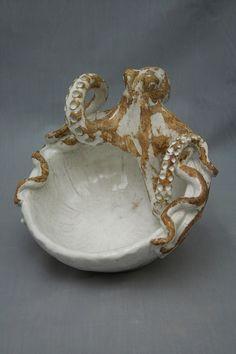 Ceramic Octopus Bowl by Shayne Greco Beautiful Mediterranean Pottery by shaynegreco on Etsy https://www.etsy.com/listing/157084053/ceramic-octopus-bowl-by-shayne-greco