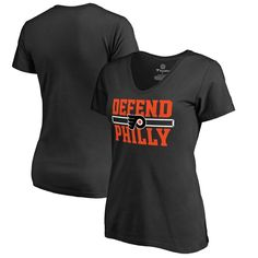 Philadelphia Flyers Fanatics Branded Women's Plus Sizes Hometown Collection Defend T-Shirt - Black