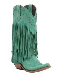 Liberty Black Women's Turquoise Vegas T-Moro Fringe Snip Toe Western Fashion Boots