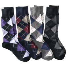 Work socks! All patterns are good, but argyle is a favorite.