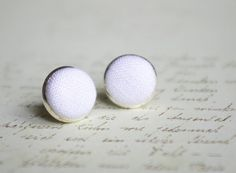 White stud earrings wedding Tiny linen earrings by chezviolette