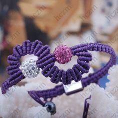 rose white crystal pave ball bead blue violet cord string bracelet macrame braid