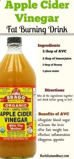 21 Minutes a Day Fat Burning - Apple Cider Vinegar for Weight Loss in 1 Week: how do you take apple cider vinegar to lose weight? Here are the recipes you need for fat burning and liver cleansing. Ingredients 2 tbsp of AVC 2 tbsp of lemon juice 1 tbsp of Honey 1 glass water Directions by maryann Using this 21-Minute Method, You CAN Eat Carbs, Enjoy Your Favorite Foods, and STILL Burn Away A Bit Of Belly Fat Each and Every Day