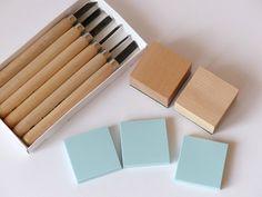 Stempel+selber+machen+Set+mit+Werkzeug+quadratisch+von+frau+zwerg+auf+DaWanda.com