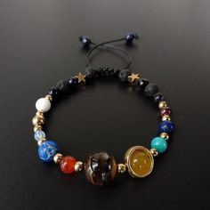 Galaxy The Eight Planets In The Solar System Guardian Star Lava Stone Beads Adjustable Bracelet Bangle For Women Men Gift With A Long Standing Reputation Strand Bracelets
