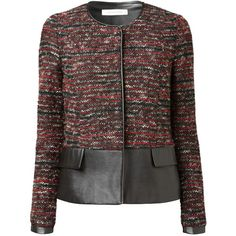 Gérard Darel Tweed Jacket, Red/Grey (3 145 UAH) ❤ liked on Polyvore featuring outerwear, jackets, lined jacket, grey jacket, long sleeve jacket, grey tweed jacket and red jacket