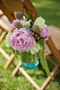Luke + Anne - Brooke Courtney Photography / Pink Yellow Green Wedding / DIY / Summer Wedding / DIY Ceremony Decor / Isle Decor / Mason Jars / Blue Mason Jar Wedding