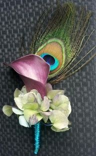 Peacock and Cala Lily buttonier