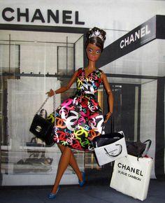 Chanel Scarf, Barbie Wardrobe, Barbie Dress, Shopping Spree, Dress Making, Fashion Dolls, Peplum Dress, Color, Dresses