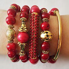 Red and gold gemstones bracelet