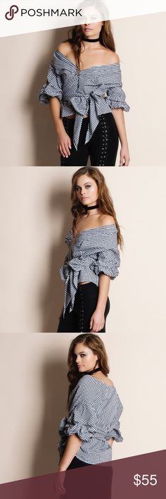 """Off Shoulder Wrap Gingham Top Off Shoulder wrap gingham top. This is an ACTUAL PIC of the item - all photography done personally by me. Model is 5'9"""", 32""""-24""""-36"""" wearing the size small. NO TRADES DO NOT BOTHER ASKING. Bare Anthology Tops Blouses"""