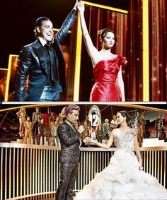 Katniss Everdeen and Caesar Flickerman; The Hunger Games and Catching Fire