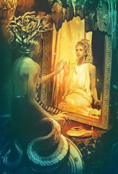 Medusa looking in the mirror...According to the myth if she were to gaze upon herself she would have turned to stone instantly.