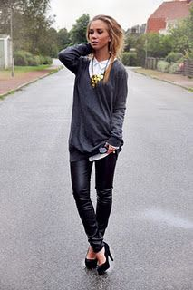 pleather tights + oversized sweaters