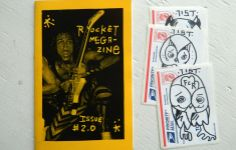 Rocket Megazine, Volume 2.  Edition of 50.  Handmade original zine by Brooks Golden aka The 7ist.  Comes in a pack assembly of 3 handdrawn slaps and one zine.