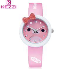 KEZZI Fashion Brand Kid Leather Strap Wristwatch Student Casual Quartz Watch Girl Clocks.Children Lovely Watch Cartoon Watch