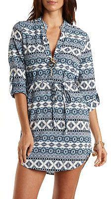 336a30076f0 V-Neck Shirt Dress charlotterusse charlottelook