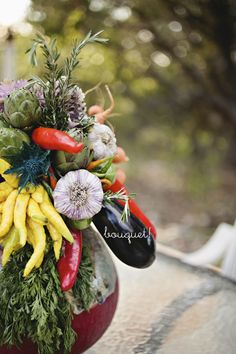 Vegetable-themed wedding bouquet