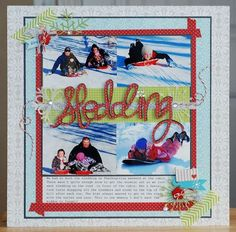 Sledding Layout featuring Bella Blvd's Winter Wonder collection and Designer Tapes. Created by Becki Adams for Bella Blvd.