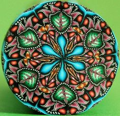 Circle Kaleidoscope Polymer Clay Cane by ikandiclay on Etsy, $12.00