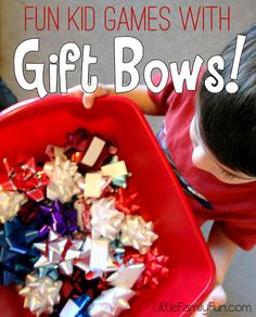 FOUR fun and easy games to play with a bag of bows! Great ways to burn some extra kid energy! : FOUR fun and easy games to play with a bag of bows! Great ways to burn some extra kid energy! FOUR fun and easy games to play with a bag of … Preschool Christmas Games, Xmas Games, School Christmas Party, Christmas Games For Kids, Holiday Games, Childrens Christmas, Fun Games For Kids, Kids Party Games, Holidays With Kids