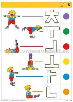 Logico Primo Farby a tvary - autokorektívne karty Body Parts Preschool, Autism Activities, Toddler Art, Early Childhood, Summer Fun, Playroom, Worksheets, Kindergarten, Kids Rugs