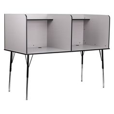 Flash Furniture Double Wide Study Carrel with Adjustable Legs - MT-M6222-GRY-DBL-GG
