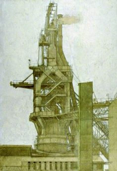 Study for Blast Furnace  by Harry Norman Eccleston        Date painted: 1977      Oil on paper, 67 x 48.7 cm      Collection: The Black Country Living Museum