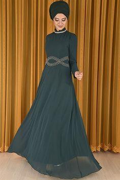 419b0ffb0a2f9 modamerve - Bel Detaylı Şifon Abiye Elbise Zümrüt RZG 6612