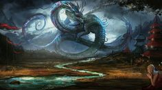 Mythical Ice and Water Dragons - wallpaper.
