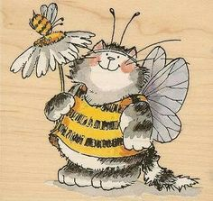 Fat cat in bee costume - rubber stamps / Penny Black Penny Black Karten, Penny Black Cards, Penny Black Stamps, Cute Drawings, Animal Drawings, Bee Art, Digi Stamps, Whimsical Art, Cute Illustration