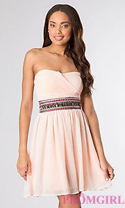 Buy Short Strapless Dress with Embellished Waist at PromGirl