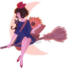 Kiki's Delivery Service / Majo no Takkyuubin (魔女の宅急便) Totoro, Studio Ghibli Art, Studio Ghibli Movies, Art Manga, Anime Art, Personajes Studio Ghibli, Memes Lindos, Punziella, Kiki Delivery