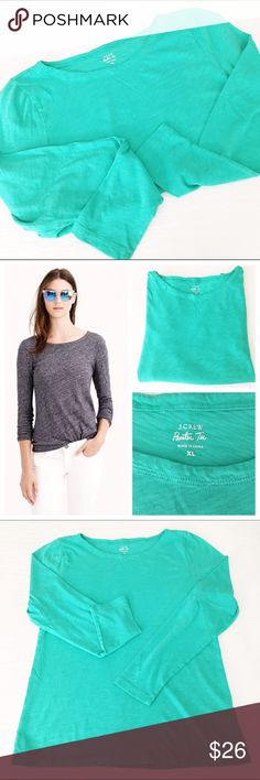 """j.crew long sleeve painter tee The one to get in multiples - it's made from kid signature textured cotton jersey, known for its heathered look and super soft feel. Cotton, machine wash, laid flat measures 25"""" from shoulder to hem, 18"""" across the bust, 25.5"""" long sleeves. No flaws to note, in very gently worn condition. J. Crew Tops Tees - Long Sleeve"""